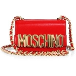 moschino red crossbody chain logo
