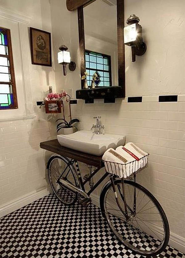 bike-used-as-bathroom-counter-table
